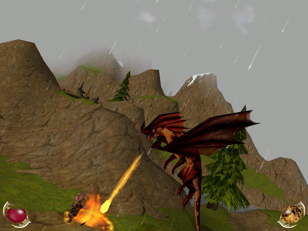 A Grull being roasted (Order of the Flame screenshot) Click to enlarge